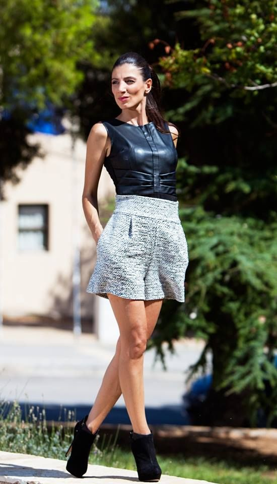 Stylish Shorts with leather top by Diamond Creations.