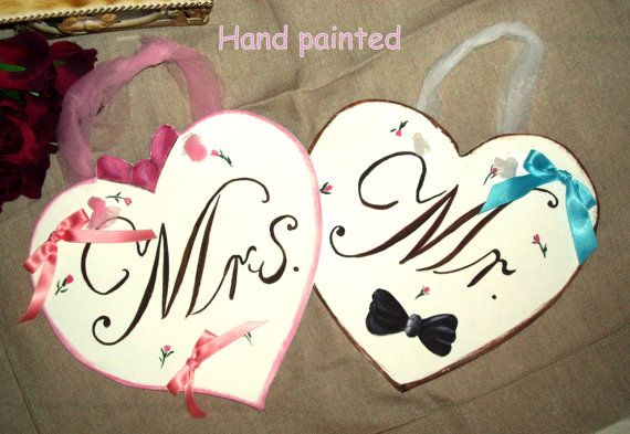 Hand Painted  Wedding Sign Your Words,Mr with a black bow tie and Mrs with a pink bow on the top.,wooden heart