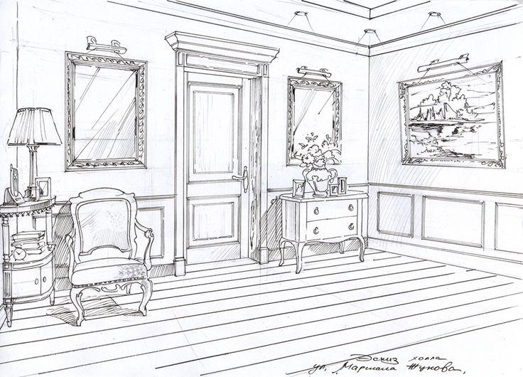 Дизайн интерьера квартиры. Эскиз к проекту. #дизайн интерьера квартиры#дизайн-проект интерьера#дизайн интерьера в классическом стиле#эскизы интерьеров от руки#