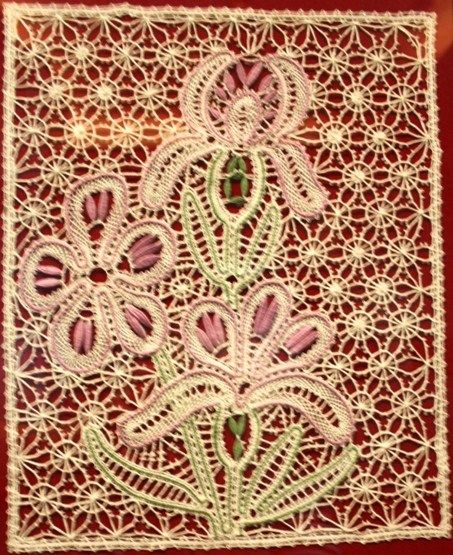 """Bobbin lace from the Russian town of Vologda. Panel """"Irises"""", 2012. #Russian #lace"""