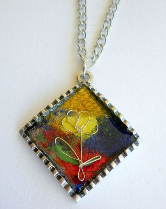 Pendant yellow flower  Multicolor pendant  Enamel by dadahandmade, €14.00