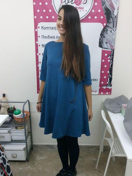 Σεμινάριο Κοπτική-Ραπτική Β΄Κύκλος,Φόρεμα ελαστικό σε Α γραμμή και 3/4 μανίκια