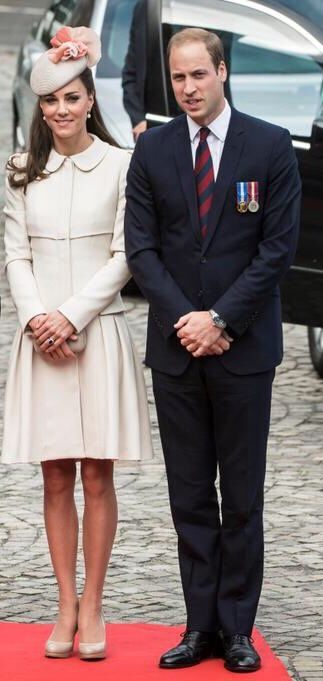 Prince William & Kate arrive in Liège, 08/04/14, McQueen coat dress, LK Bennett pumps, Jane Taylor Millinery