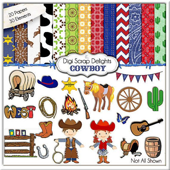 Cowboy Clip Art Cowboy Digital Papers by DigiScrapDelights on Etsy, $6.00