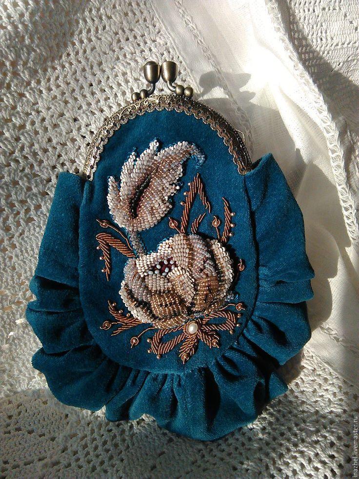 Beaded purse | Купить Вечерняя театральная сумочка Винтаж - морская волна, цветочный, Вышивка бисером, театральная сумочка