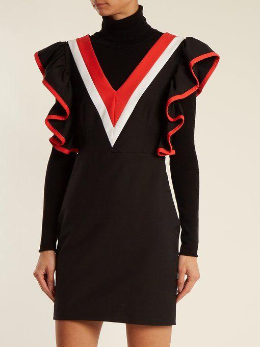 fe963826e6ca Contrast-panel ruffled jersey mini dress for women  affiliate  womensoutfits