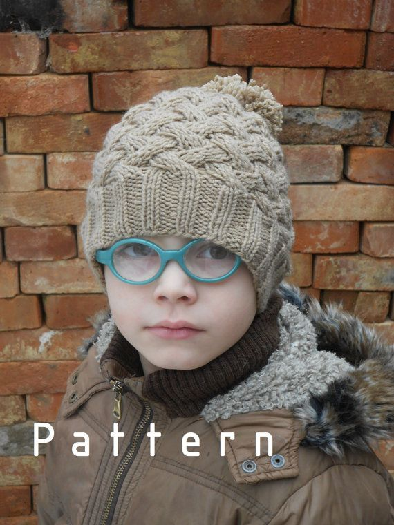 Knitting PATTERN for The Light Brown Hat with Pom-Pom/Boys/Adult/Toddler/Baby/Children
