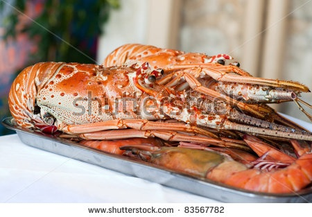 Lobster on plate displayed in market in Rethymno, Crete, Greece