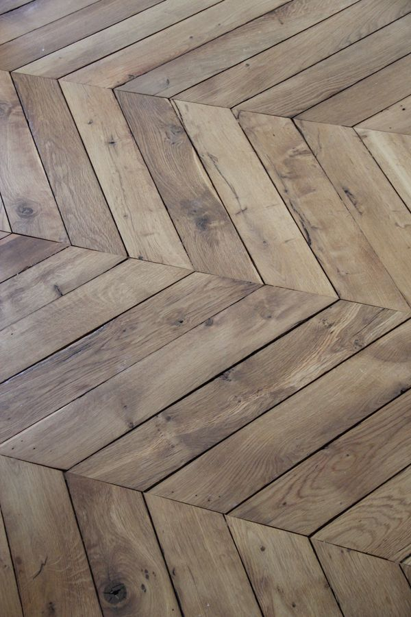 Not only does this wooden chevron layout create interest in the floor, it also reminds us of the Wickes logo!