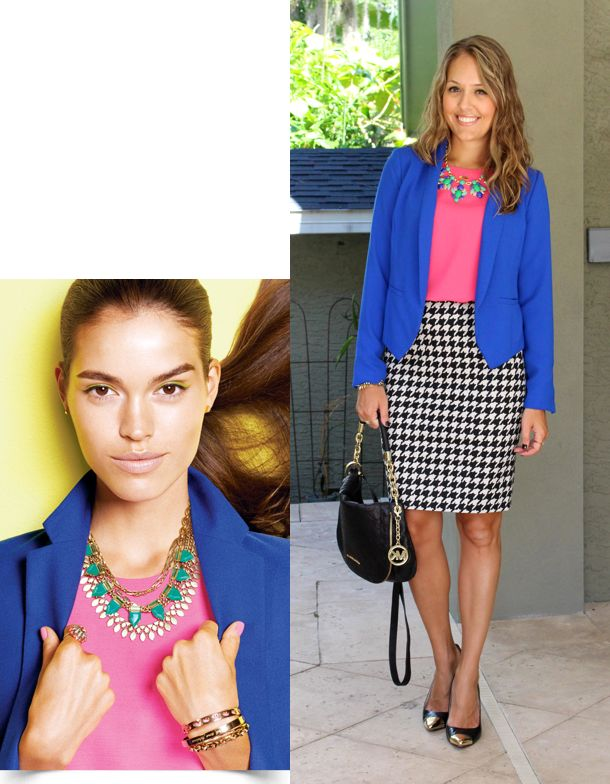 Inspiration: Stella & Dot  It was instant love when I saw this trio of colors in the latest Stella &  Dot catalog. I knew I had similar pieces already in my closet and from  there it was just a matter of deciding what to wear on the bottom half.  After holding up a bunch of different op