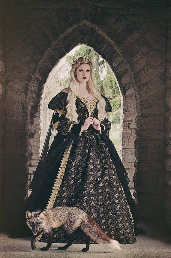 Gothic Sleeping Beauty Gown New images by Ironwood Wolves/Rachel Lauren...model Stacey Smith. New color combo....this is a lightweight flat black velvet, with a black/gold lace....gold venise lace trims, and black chiffon. Can also be done in black/silver....inquire on other colors.