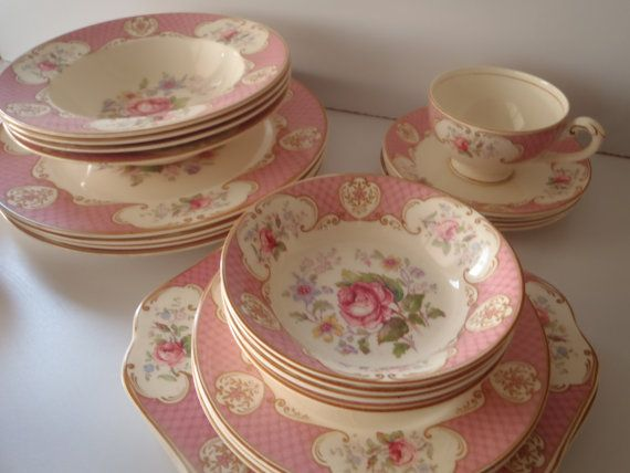 28 Piece Rare Staffordshire Rose Dish Set by by FeistyFarmersWife, $248.00