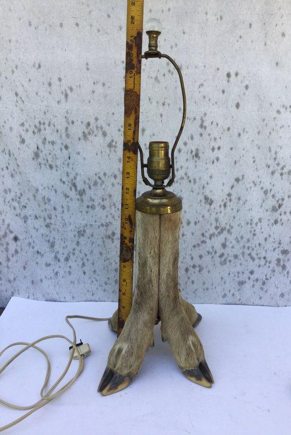 Vintage Taxidermy Deer Hoof Lamp 4 Deer By