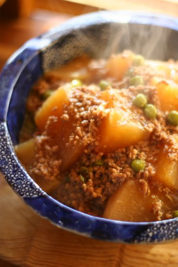 Beef Soboro with Kabocha, Potatoes, and Daikon | Happy Days