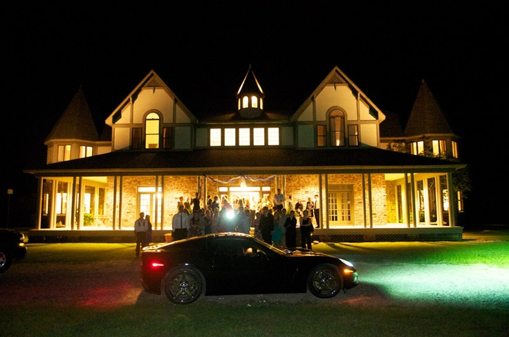 """The Chateau Sante in Warren Arkansas. Love the flash from the """"one last picture"""" a guest is taking before the newly married couple leaves!"""