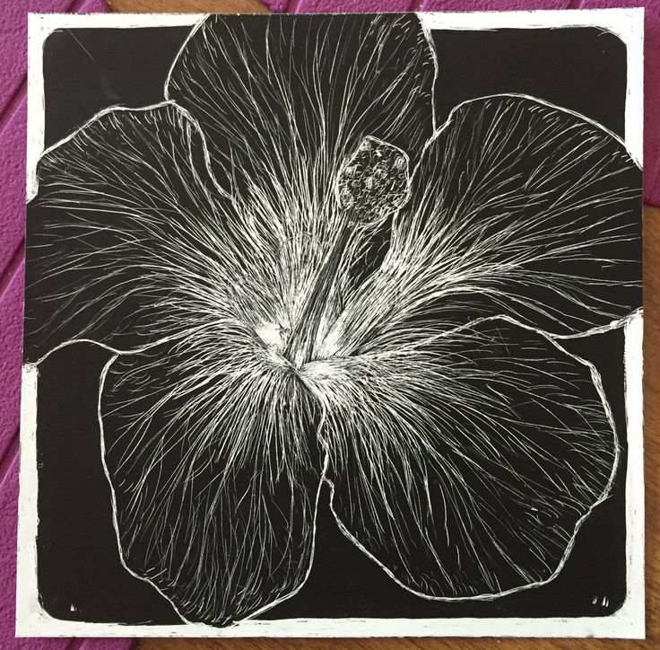 Scratch board hibiscus flower
