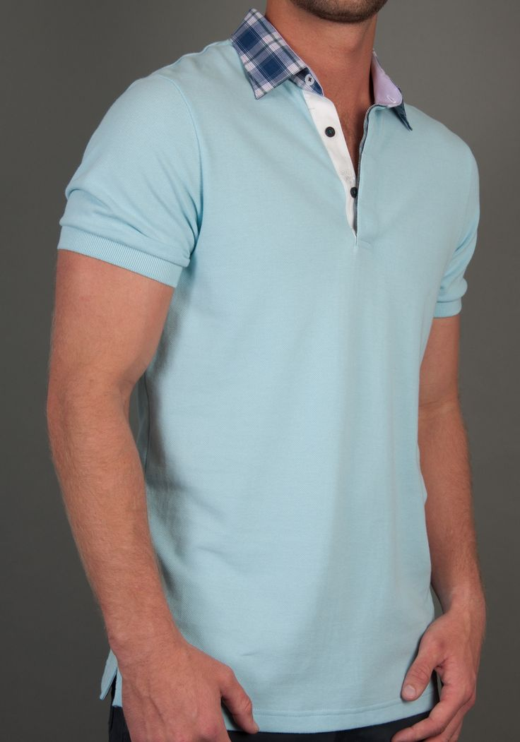 Mens polo shirts-A pastel blue, polo shirt, fitted body with a dress shirt woven button down collar.