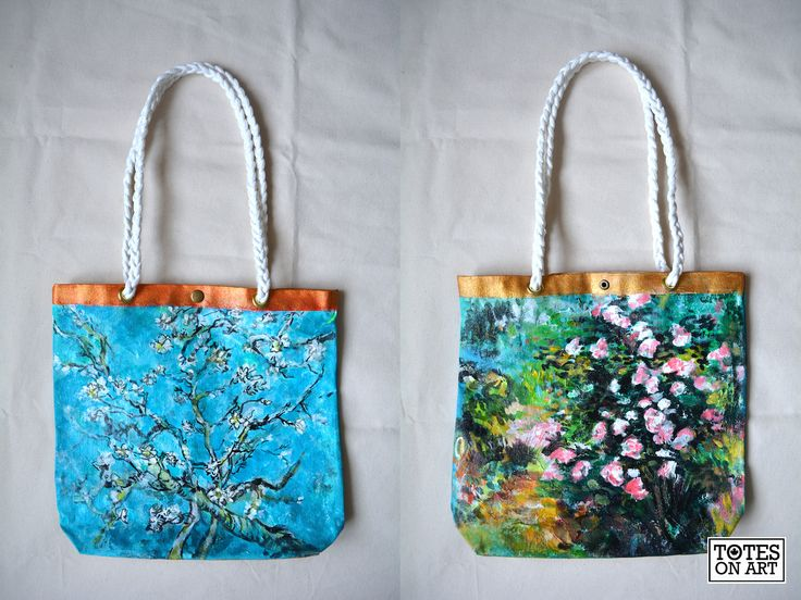"Holiday commission! This one is for a customer's longtime friend who loves the work of Van Gogh. Paintings are after Van Gogh's ""Almond Blossoms"" and ""Rosebush in Bloom"". Machine sewn with hand-hammered in buttons and grommets. Hand-braided cotton rope handles.  14.5""x13"". December 2014."