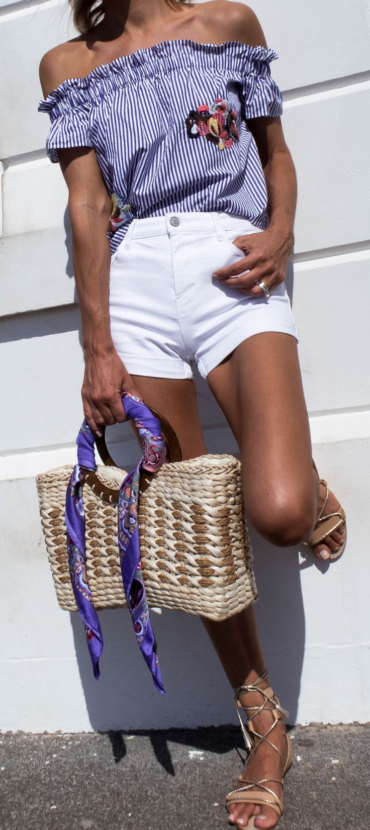 Summer outfit, summer style, blue and white outfit, white denim shorts, blue and white stripe top, off the shoulder top, nude strappy sandals, straw bag, beach bag, bag with silk scarf, silk headscarf, summer tan @thelustlife_