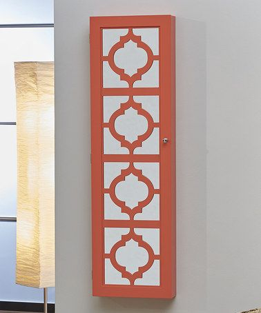 Love this Coral Cutout Hanging Jewelry Armoire on #zulily! #zulilyfinds