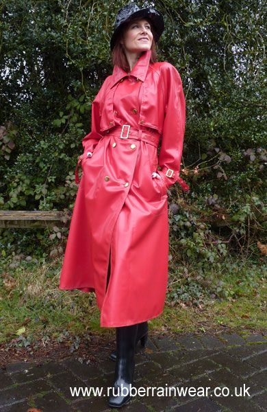 Red is the colour of passion, check out this gorgeous babe in her kinky RED Rubber Rainwear!