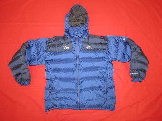Mountain Equipment Men's Drilite Loft Down Dun Duvet Outdoor Hooded Jacket Sz L Blue Hip Length Machine Washable Double Breasted