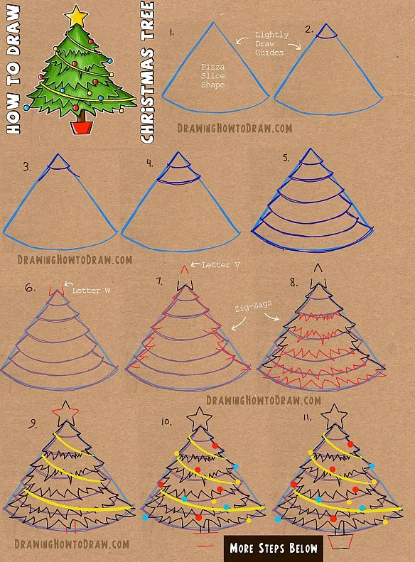 how to draw santa claus and christmas tree