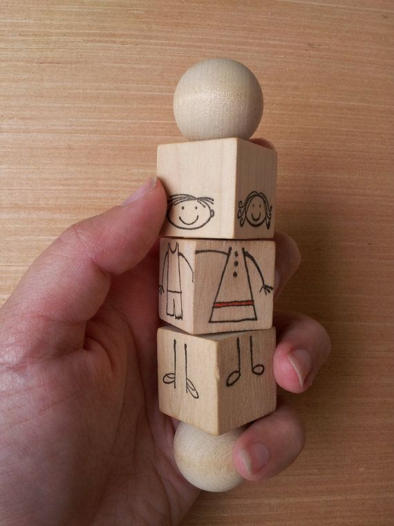 Turn and twist the blocks to change the clothes and make new friends. Super cute! <3