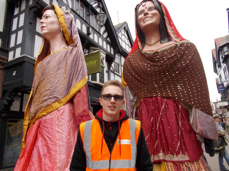 Event Management student Jonas in Chester with Giants