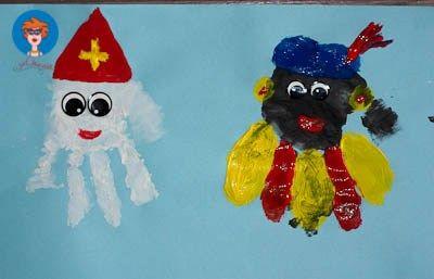 Sinterklaas en Zwarte Piet handjes verven - knutselen - Juf Jannie