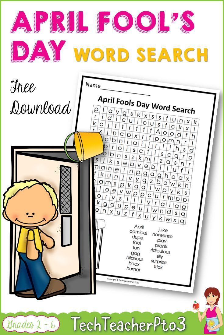 April Fool's Day Word Search. A fun free April Fool's Day activity and perfect for primary school students who might be fast finishers. Free download.  #aprilfoolsday #freedownload #teacherspayteachers