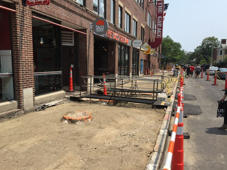 Amramp was able to provide access to the retail stores in Harvard Square, Cambridge, MA during a sidewalk repair project with temporary ramps. The ramps can be RENTED during renovations.