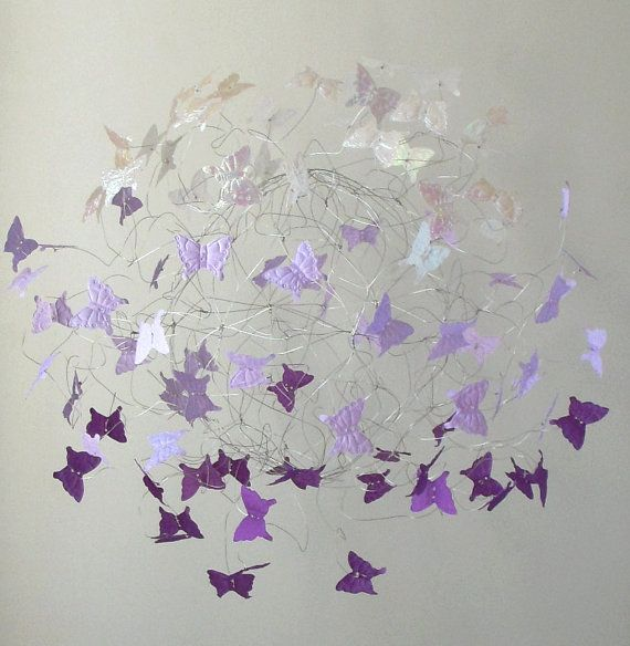 Butterfly Mobile, Nursery Mobile, Baby Crib Mobile, Purple Baby Room, Purple Nursery Decor, Bedroom Decor
