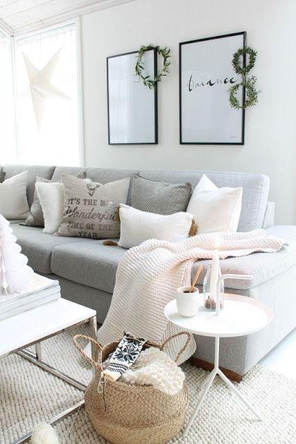 Obsesión con un sofá gris | Blanco y de madera