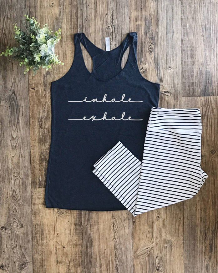 Womens Workout Tops | Inhale exhale tank | Workout Clothes | Fitness Clothing | Women's Activewear | Ladies Gym Tops | Yoga Tank Top |