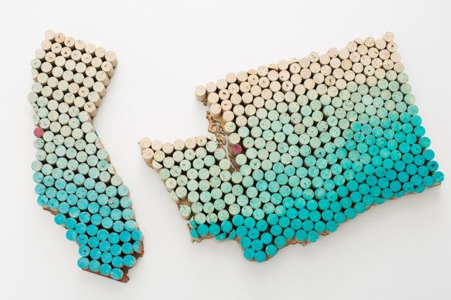 Use wine corks to DIY this wall art.