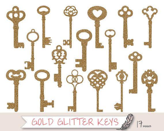 Gold Key Clipart, Glitter Key Silhouette Clipart, Gold Skeleton Key Clip Art, Wedding Clipart,  Wedding Key Clipart, Glitter Clip art