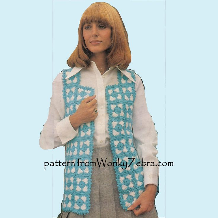 WZ923; great value PDf for TWO waistcoat patterns from the 70s. One in a pretty granny square floral motif(see other pin on this board). A great retro hippy look for summer . Original pattern from EMU3083 in Dk/light worsted weight.Also- either stitch pattern /motif would give you a lovely blanket design too!