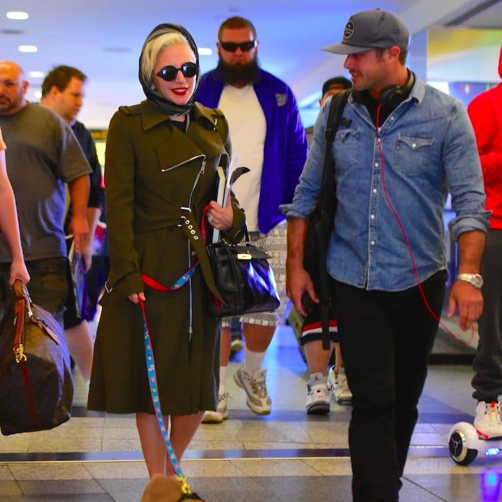 Lady Gaga and Taylor Kinney Touch Down in NYC With Their Adorable Pup