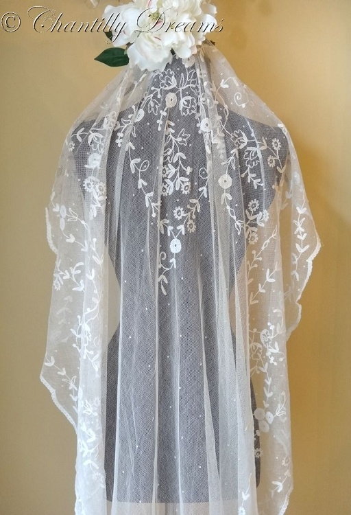 Antique Edwardian Tambour Lace Cathedral Length Wedding Veil Circa 19th Century