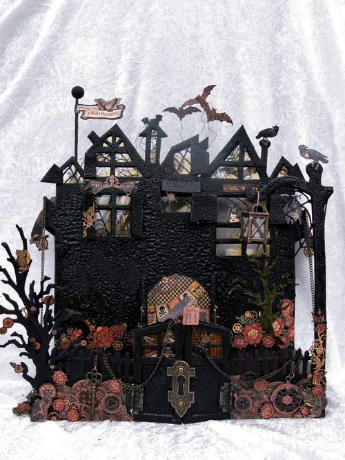 Learn how to make this Steampunk Spells spooky house with a great step-by-step tutorial by Anne! (at bottom of blog post) #graphic45 #tutorials
