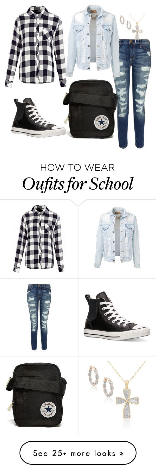 School by setterforlife on Polyvore featuring Rails, Current/Elliott, Converse and Finesque