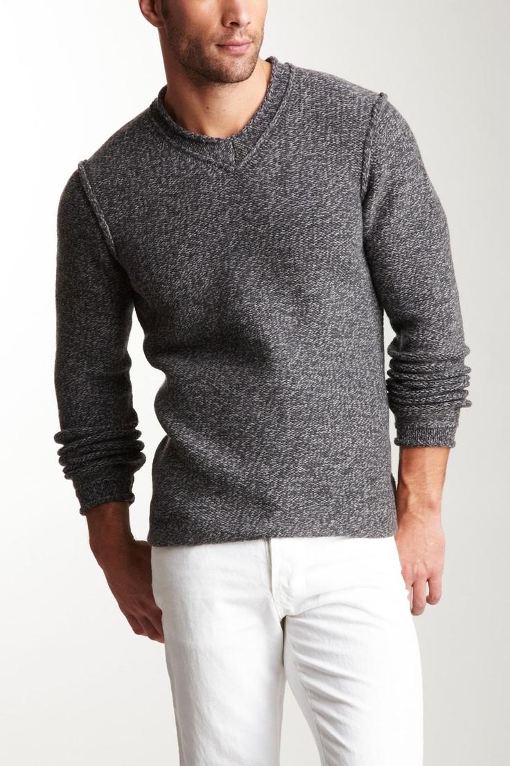 James Perse Men's - Marled Knit V-Neck Sweater