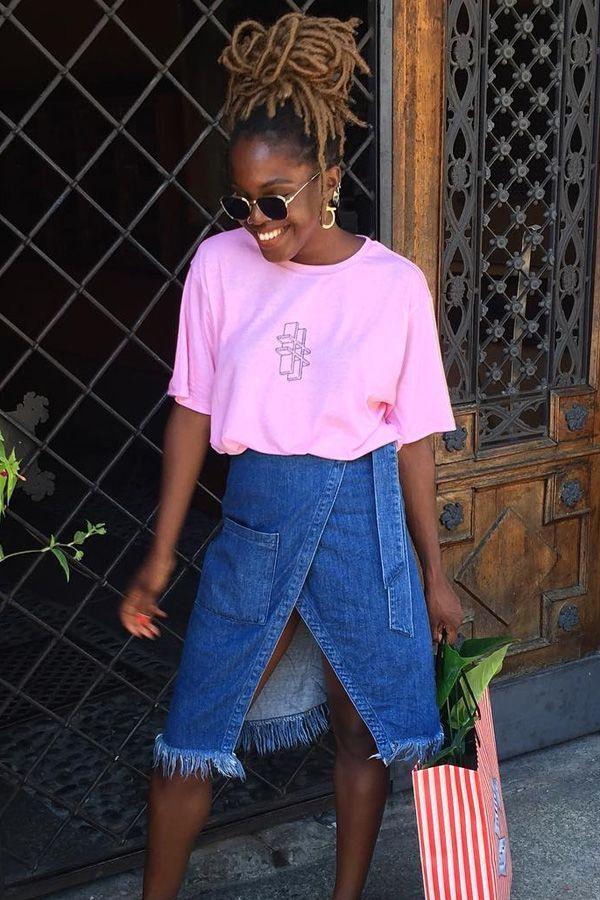 saia jeans tshirt rosa