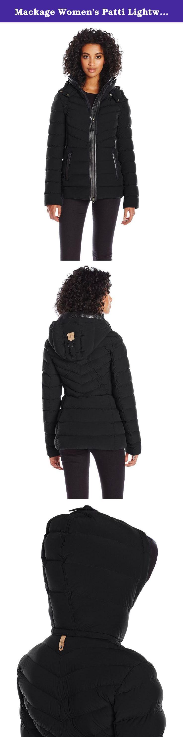 Mackage Women's Patti Lightweight Down Jacket, Black, XS. Ladies lightweight down jacket with removable hood with leather visor.