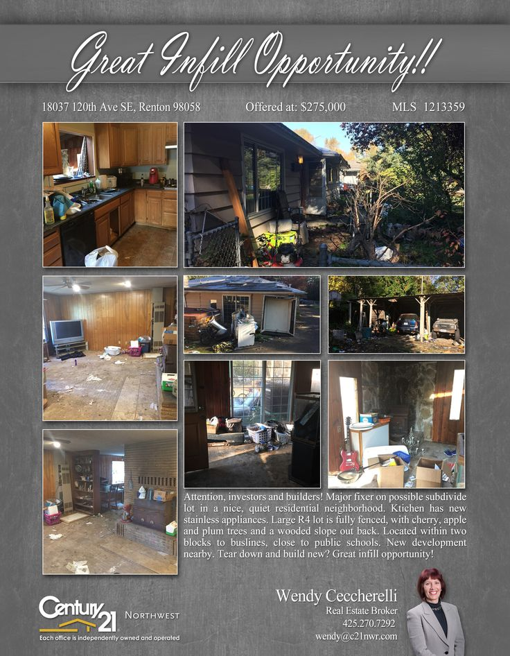 #PENDING Cheers Wendy Ceccherelli  Subdivide lot in a nice, quiet residential neighborhood. Ktichen has new stainless appliances. Large R4 lot is fully fenced, with cherry, apple and plum trees and a wooded slope out back. Located within two blocks to buslines, close to public schools.  MLS # 1213359 http://18037120thavese.c21.com/