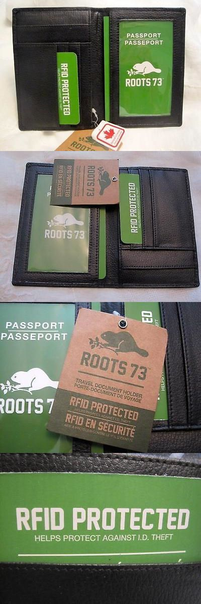 ID and Document Holders 169279: Nwt Roots 73 Black Leather Passport Document Holder Rfid Made