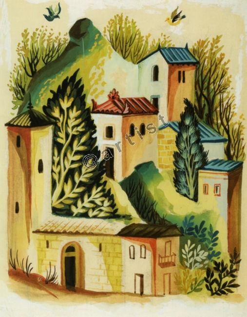 Αγήνωρ Αστεριάδης, Τοπίο, μετά το 1970, υδατογραφία, 28 x 22 εκ.
