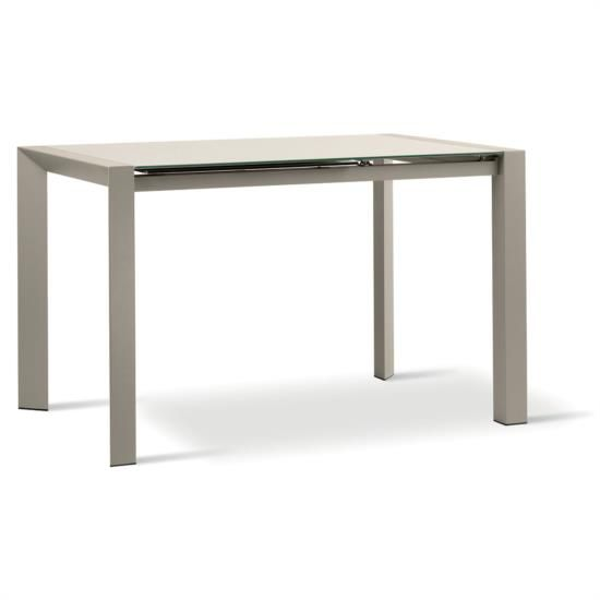Tavolo in metallo allungabile con piano e allunga in vetro.