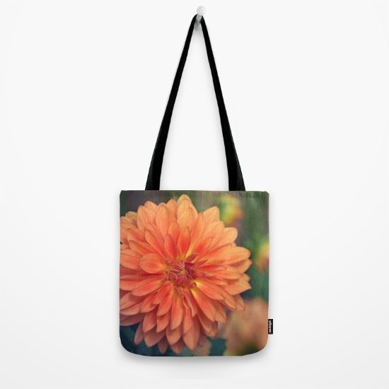 #photography #nature #flowers #floral #orange #dahlia #closeup #macro available in different #homedecor products. Check more at society6.com/julianarw #totebag